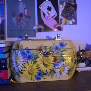 floral decoupaged wooden purse